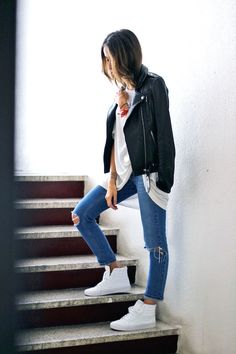 leather moto jacket, white tee, ripped knee jeans & whit hi-top sneakers #style #fashion