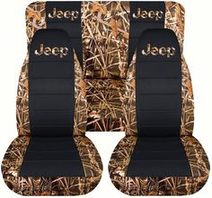 Jeep Wrangler TJ (1997 to 2006) Camo and Black Seat Covers with Jeep: Wetland - Full Set (19 Prints Available)