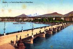 Genève, le pont du Mont-Blanc et le Mont-Blanc