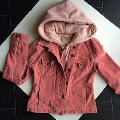 *REDUCED!* Pink jacket with hood Sooo cute!  Hood is pretty thick, but body is not bulky, like a light corduroy.  On the smaller end of a Medium.  Color is less of a peach, like it shows in pictures, but more of a baby pink or rose color.  Very pretty!  Worn a few times, but in very good condition!       Please consider BUNDLING for the best deal!  Plugg Jackets & Coats