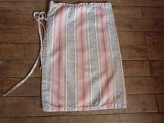 Vintage laundry bag French ticking striped handmade sack w floral ticking fabric damask striped mattress toile, country cottage from France by MyFrenchAntiqueShop on Etsy