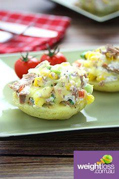 Cheesy Tuna Baked Potato. #HealthyRecipes #DietRecipes #WeightLossRecipes weightloss.com.au