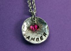 Check out this item in my Etsy shop https://www.etsy.com/listing/195173883/personalized-name-necklace-hammered