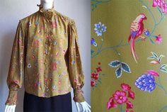 Vintage 80s Emanuel Ungaro Parallèle Bird Floral Ruffle Blouse Sz 10 B42 by afunquejunque, $35.00