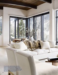 Possibility of window door combo for dining and great room. Love ceiling and floor color design Home Living Room, Interior Design Living Room, Living Area, Living Room Designs, Living Room Decor, Living Spaces, Interior Livingroom, Style At Home, Aspen House