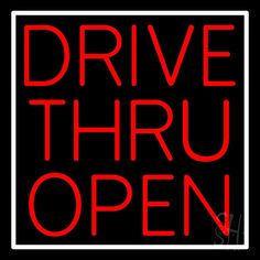 Red Drive Thru Open Neon Sign 24 Tall x 24 Wide x 3 Deep, is 100% Handcrafted with Real Glass Tube Neon Sign. !!! Made in USA !!!  Colors on the sign are Red and White. Red Drive Thru Open Neon Sign is high impact, eye catching, real glass tube neon sign. This characteristic glow can attract customers like nothing else, virtually burning your identity into the minds of potential and future customers. Red Drive Thru Open Neon Sign can be left on 24 hours a day, seven days a week, 365 days a…