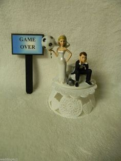 Soccer Player Groom With Bride Cake Topper Set