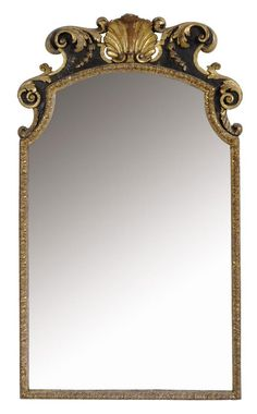 A CARVED GILTWOOD AND BLACK PAINTED MIRROR -  18TH CENTURY ELEMENTS AND LATER
