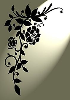 Vintage stencil Shabby Chic Rose corner Flourish Rustic Mylar A4 297x210mm wall furniture art by Solitarydesign