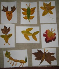 making pictures with leaves craft re-pinned by @Jenn Browning Kids Therapy