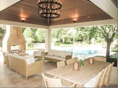 Outdoor living and dining - ceiling, lighting, fireplace, etc.