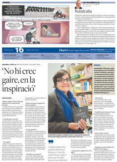 """Anabel Sáiz Ripoll y """"Caballitos de Sal"""", protagonistas de la contraportada del """"Diari de Tarragona"""", (Entrevista realizada por Maria Borràs)."""