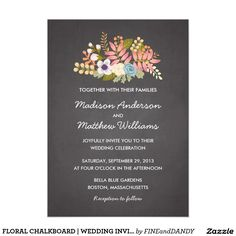"FLORAL CHALKBOARD   WEDDING INVITATION 5"" X 7"" INVITATION CARD"