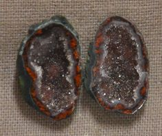 Tabasco Geode 1 Pair Cut and Polished Great for Jewelry 46592