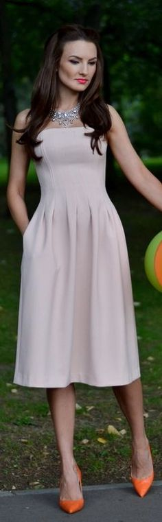 Fairytale Collection Shop Pink Fit And Flare Strapless Midi Dress by My Silk Fairytale