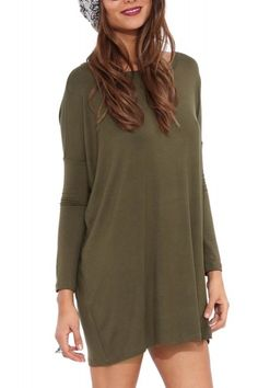 Long Sleeve Shirt Dress In Olive Green
