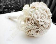 Ivory wedding bouquet bridal bouquet hand crochet with vintage pearls and lace: