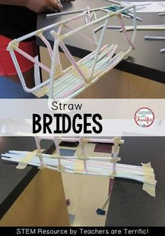 STEM Challenge: Using only two materials kids build one of four kinds of bridges! These turn out so well! Check this blog post for more!