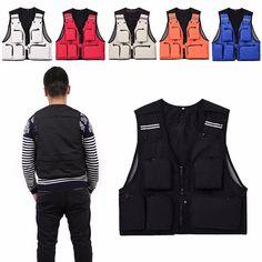 Travel Men Sleeveless Fishing Vest Jacket Photography Waistcoat Outdoor Fly Mesh #Unbranded