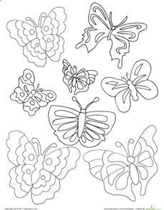 Butterflies Coloring Page Worksheet