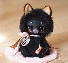 READY FOR ADOPTION  Mushka the Bat  artist ooak teddy toy