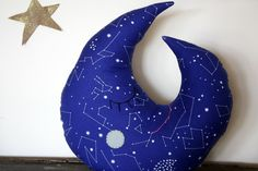 moon pillow constellation fabric moon decor by 5orangepotatoes, $28.00