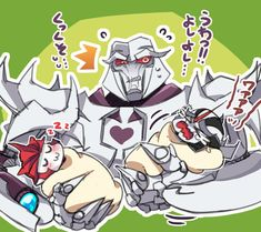 X3 Megs looked as if he wants to blow up Starscream with his fusion cannon or/and has no idea what to do with the whining sparkling. At least KO is recharging quietly . . .