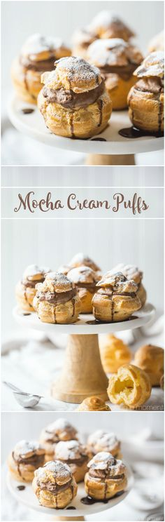 Mocha Cream Puffs- wow, what a treat! The pate a choux came out perfectly puffed and golden, and that fluffy filling had so much chocolate and coffee flavor! food desserts chocolate via @Allie Baking a Moment