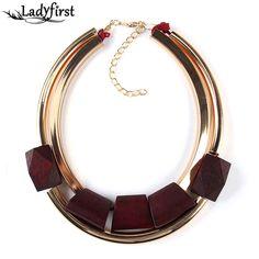 Unique Wood Metal Gold-plated Color Circle Accessories Necklaces & pendants Statement Collar Necklace 2297