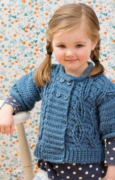 Hand Crochet Child Cardigan  Made to Order  by KnuttinButYarn, $69.99