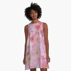 -  Loose swing shape for an easy, flowy fit.   -  Print covers entire front and back panel.   -  97% polyester, 3% elastane woven dress fabric with silky handfeel.   . . . #dress  #flowingdress  #flowydress  #alinedress  #bitsofeverywhere  #cherryblossoms  #pinkflowers  #flowers