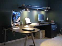 Ikea Galant Desk and Lack Shelf with Grundtal and Global lighting