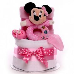Minnie Mouse two tier nappy cake gift for a little baby girl. Little Baby Girl, Little Babies, Baby Girls, Baby Girl Cakes, Nappy Cakes, Gift Cake, Minnie Mouse, Gifts, Presents