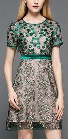Floral Mesh-Embroidered Silk Dress- Green Embroidery