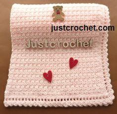 Free baby crochet pattern for baby blanket http://www.justcrochet.com/baby-blanket-usa.html #justcrochet