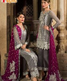 Stylish Desi Dress In Gray And Shoking Pink Color.With Sequance Silver Tilla Embroidery And Patches Work.All Pakistani Teaditional Clothes Are Availab. Pakistani Suits, Pakistani Dresses, Salwar Suits, Sharara Suit, Indian Suits, Pakistani Bridal, Indian Bridal, Salwar Kameez, Kurti