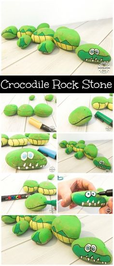 Crocodile rock stone tutorial and Story Stone Idea. Great art and crafts activity for kids. This kids craft is fun and can be used to help teach phonics and literacy to little ones. A great Preschool craft or kindergarten literacy idea. Enjoy. #crafts #storystones #crocodilecraft #artsandcrafts #kidscrafts #rockart #rockstones #rockartpainting #rockstonepainting #preschool #homeschool #crocodile #kidsfun #artproject