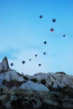 Taking flight in Cappadocia, Turkey