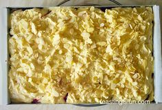 Bakewell Shortbread Bars - Feasting Is Fun Gluten Free Almond Cake, Almond Cakes, Tray Bake Recipes, Tart Recipes, Canned Pumpkin Pie Filling, Bakewell Tart, Shortbread Bars, Indian Dessert Recipes, Tray Bakes
