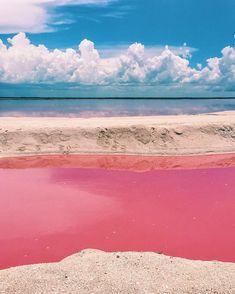 A pequena vila de Las Coloradas, no litoral de Yucatán, no México, esconde o que, para muitos, parece o cenário de um sonho: um lago cor-de-rosa. A origem da pigmentação da água está nos minúsculos microorganismos marinhos com betacaroteno, que contém pigmentos alaranjados e produzem o efeito visto nas fotos.