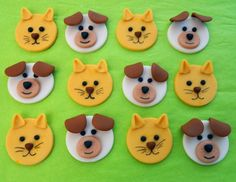 Fondant Cupcake Toppers One dozen DOGS and CATS by SWEETandEDIBLE