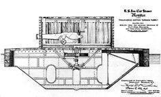 Cutaway diagram of the historic USS Monitor. Ralph Mcquarrie, Yacht Design, Norman Rockwell, Tour Eiffel, Batman 1, Uss Monitor, Science Fiction, Civil War Art, Technical Illustration