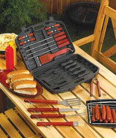 "Arabella Ave by Tina  http://www.arabellaave.com/?a_aid=TinaGowans  19 PC, DELUXE BBQ TOOL SET IN CASE  $42.00 (use coupon code TINAG10 to save 10%) Great Father's Day gift idea!!  A full set of durable barbecue tools turns any backyard amateur into a pro. All packed in a sturdy plastic carrying case. 17"" x 12"" x 3"" high (closed). Material(s):STAINLESS STEEL, WOOD"