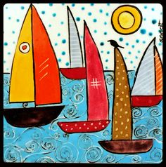 74 - 10 x 10 cm Simple Acrylic Paintings, Mini Paintings, Easy Drawings For Kids, Art For Kids, Boat Drawing, Sailboat Art, Art Populaire, Cottage Art, Bohemian Art