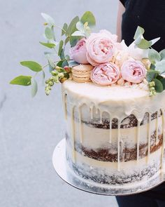 Half-naked wedding cake with red peonies and macaron wedding cake . Half-naked wedding cake with red peonies and macaron wedding cake . - Half-naked wedding cake with red peonies and mac. Pretty Cakes, Beautiful Cakes, Wedding Cake Designs, Wedding Cakes, 1 Layer Wedding Cake, Nake Cake, Engagement Cakes, Engagement Parties, Wedding Cake Inspiration