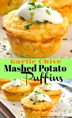 Garlic Chive Mashed Potato Puffins are a fusion of potato puffs and muffins. They're sure to be the side dish star of any special occasion. Garlic And Chive Mashed Potatoes Recipe, Garlic Chives, Mashed Potato Recipes, Cheesy Potatoes, Baked Potatoes, Potato Pasta, Potato Dishes, Savoury Dishes, Food Dishes