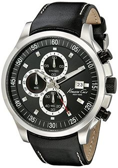 Men's Wrist Watches - Kenneth Cole New York Mens KC8093 Dress Sport Analog Display Japanese Quartz Black Watch *** Read more reviews of the product by visiting the link on the image.