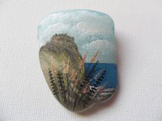 Cloudy sky castle Ireland - Original acrylic miniature painting on frosted sea glass by ShePaintsSeaglass on Etsy