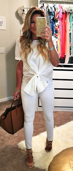 #summer #outfits White Top + White Skinny Jeans