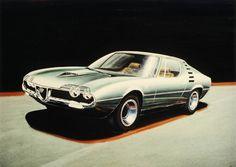 Gandini's designer sketch for the production Alfa Romeo Montreal